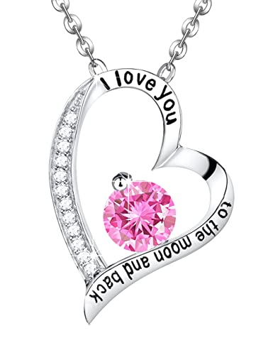 e7e53a182 Valentines Day Gift Engraved I Love you to the Moon and Back Pink  Tourmaline Necklace Love