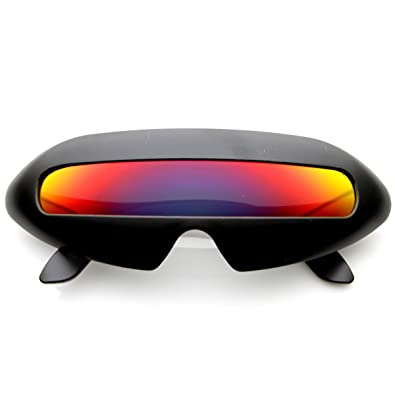 ec5437fbae4fe Amazon.com  Futuristic Shield Single Lens Oval Party Novelty Cyclops Costume  Wrap Sunglasses (Black Fire)  Shoes