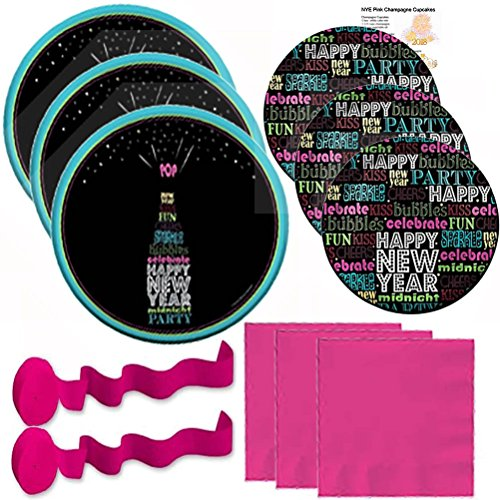 New Year Party Supplies Kit Set Champagne Pop Eve Premium Dinner Paper Plates Dessert Plates Dinner Napkins Words Pink Streamers Recipe Pack Serves 24 (101 Pieces) Easy & (Streamers Dessert Plates)