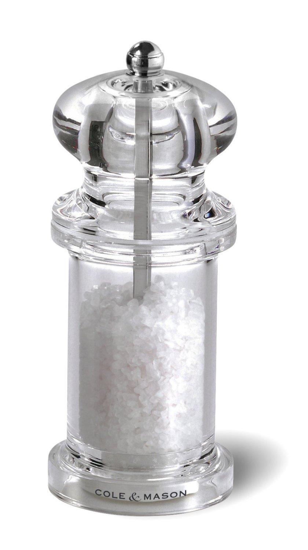 COLE & MASON 505 Salt Grinder - Clear Acrylic Mill Includes Precision Mechanism and Premium Sea Salt