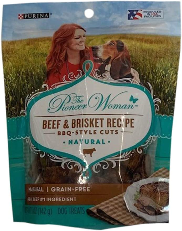 The Pioneer Woman Grain Free, Natural Dog Treats; Beef & Brisket Recipe BBQ Style Cuts - 5 oz. Pouch