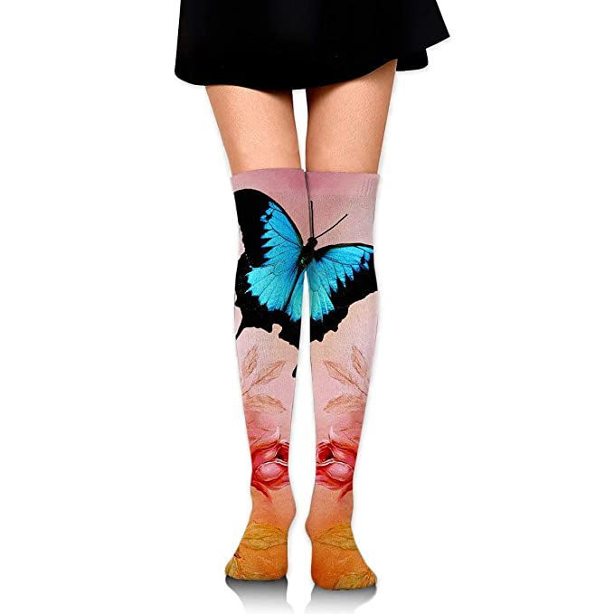 da9524e15e0 High Elasticity Girl Cotton Knee High Socks Uniform Blue Black Butterfly  Women Tube Socks at Amazon Women s Clothing store