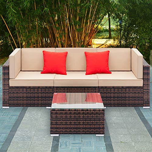 Tenozek Outdoor Furniture Sectional Sofa Patio Furniture Sets All-Weather Brown PE Wicker Loveseat w/Coffee Table for Backyard, Pool (Brown, 3 Seats + Coffee Table)