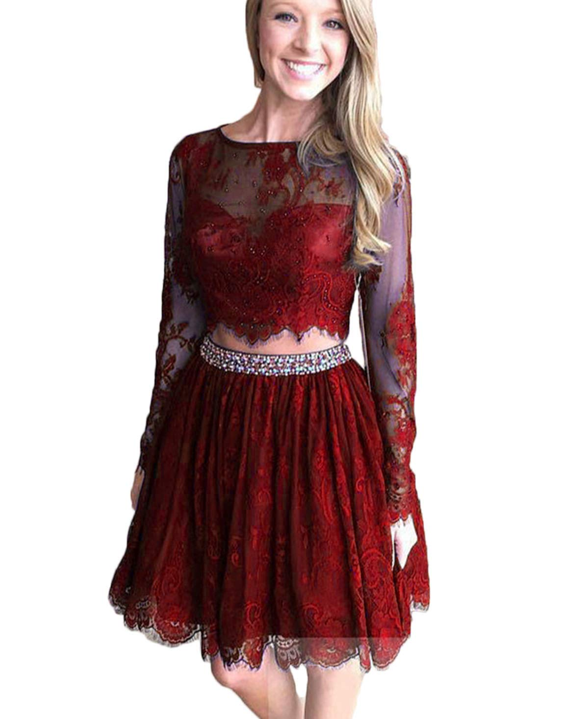 79795977399 Scarisee Women s Long Sleeves Beaded Lace Two Pieces Homecoming Dress Short  Mini Prom Party Gown Burgundy 10