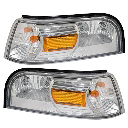 Driver and Passenger Park Signal Side Marker Lights Lamps Lenses Replacement for Mercury 6W3Z13201AA 6W3Z13200AA AutoAndArt