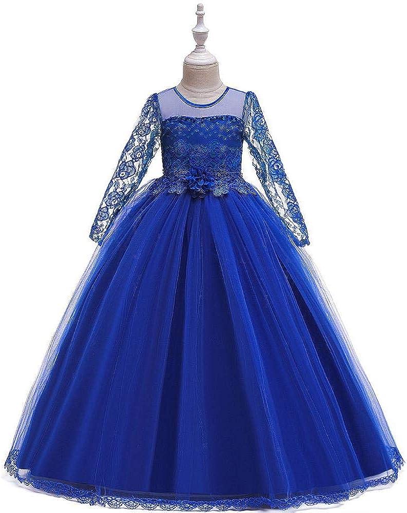 VJGOAL Vestido de Princesa Niñas Flores Encaje Ahuecado Vestido de Novia de Manga Larga Vestido Formal de tutú de Fiesta de Tul: Amazon.es: Ropa y accesorios