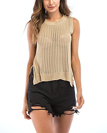 mewow Women s Summer Comfy Knit Tee T Shirt Sleeveless Tank Tops Blouse  Soft Undershirts (Beige