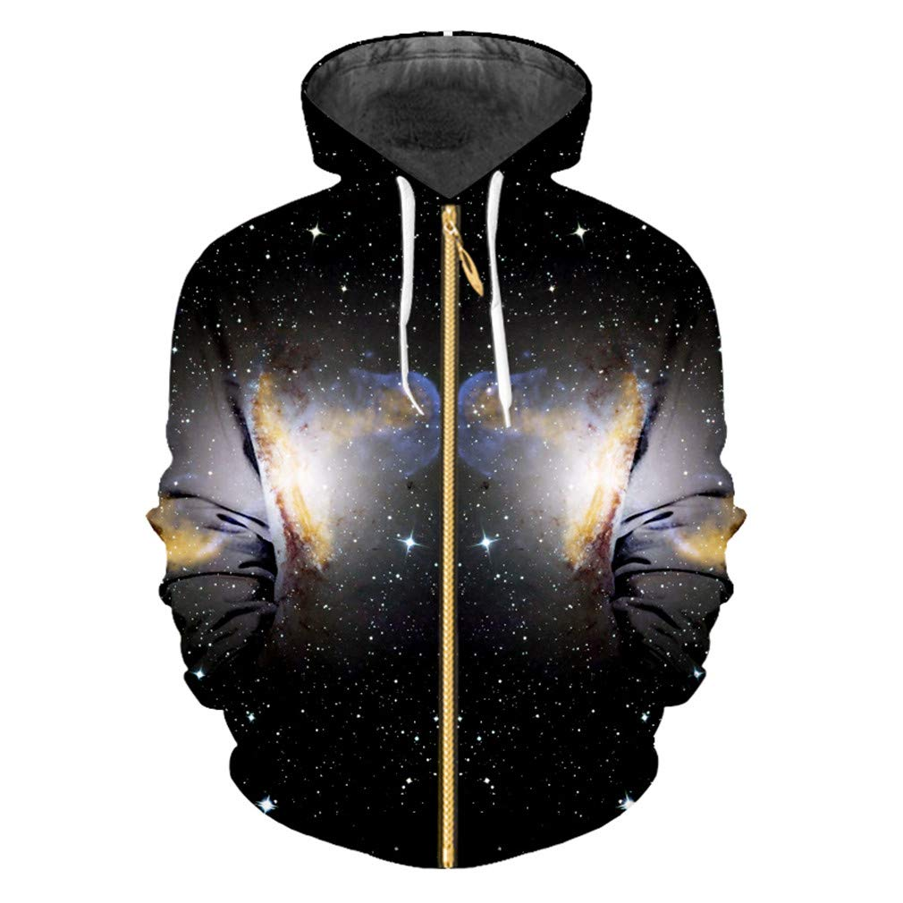 3D Printed Zipper Hoodies Sweatshirt Black New Harajuku Men//Women Long Sleeve Hooded Jackets Cardigan 6XL