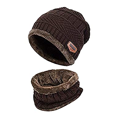 a90b10e59 Unisex Men Women Knitted Fleece Beanie Hat and Loop Circle Scarf Snood Set  Warm Soft and Comfortable