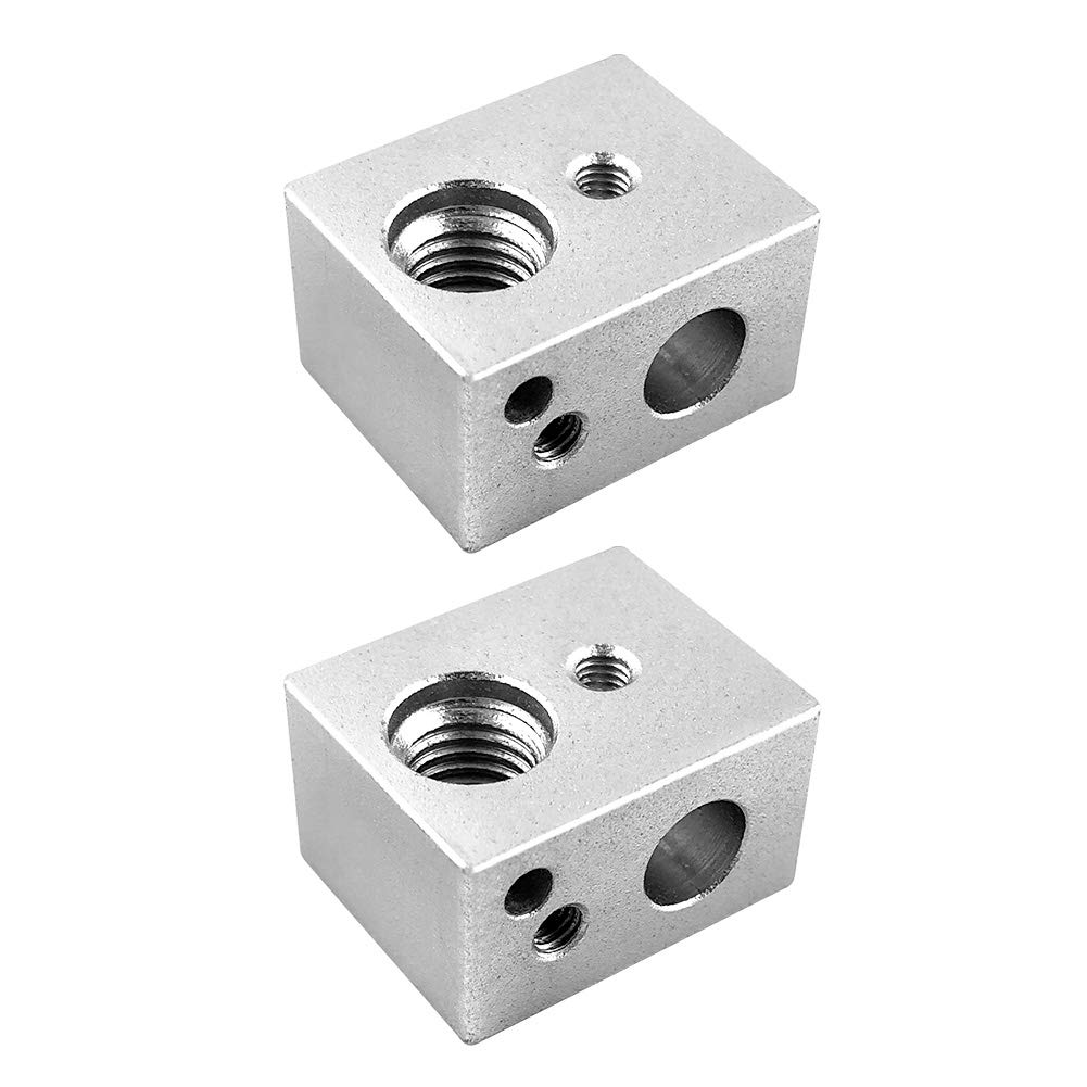 QWORK 2 PCS MK10 Aluminum Heater Block for 3D Printer Wanhao Duplicator i3