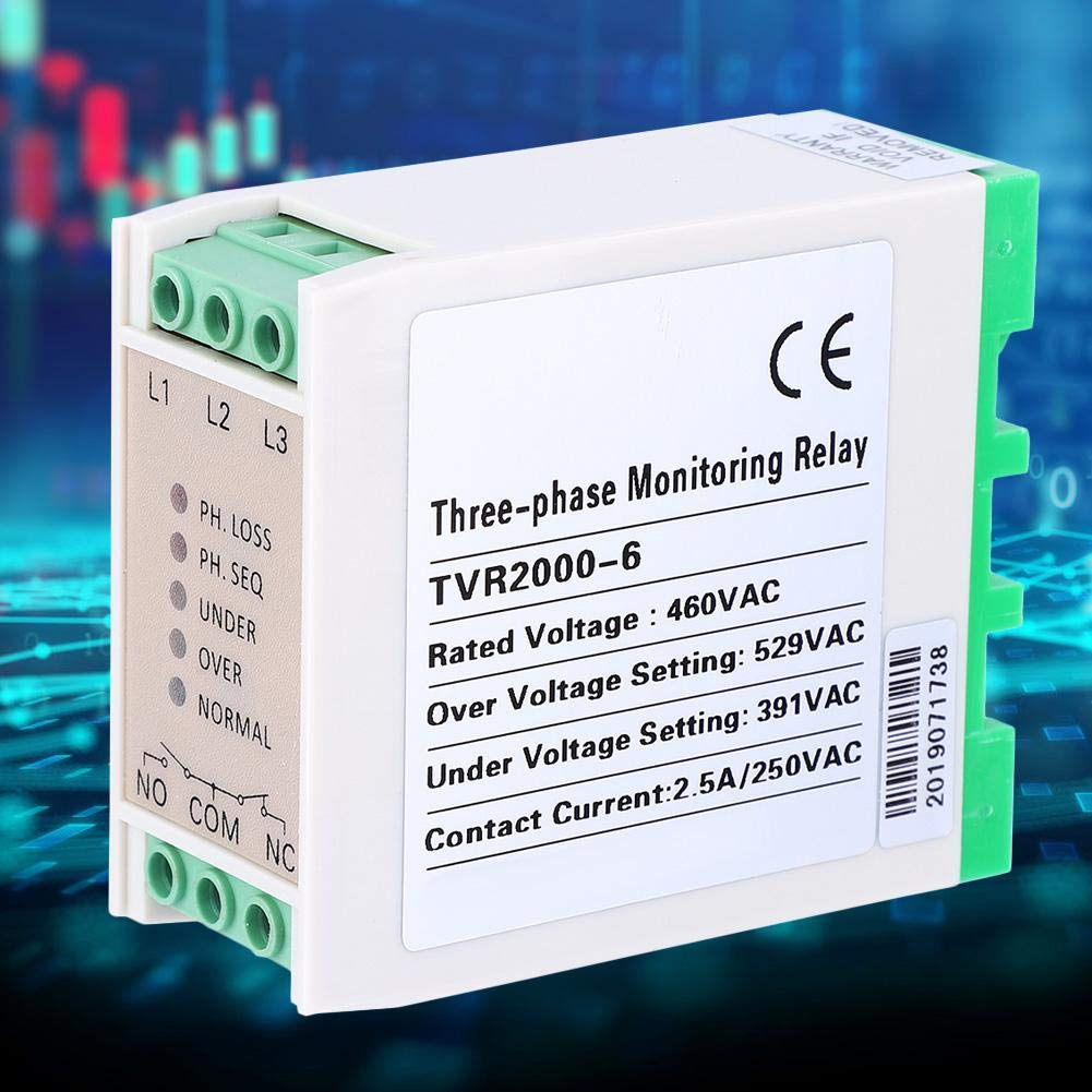 Liukouu 460VAC Over /& Under Voltage Failure Phase Sequence Protector 3 Phase Power Supply Monitor Relay