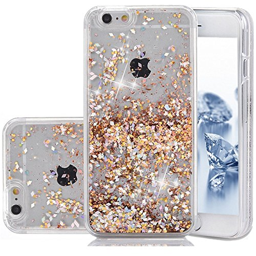 iPhone SE Case, Liquid Case, Asstar Fashion Creative Design Flowing Liquid Floating Luxury Bling Glitter Sparkle Diamond Hard Case for iPhone SE, iPhone 5, iPhone 5S (Glod)