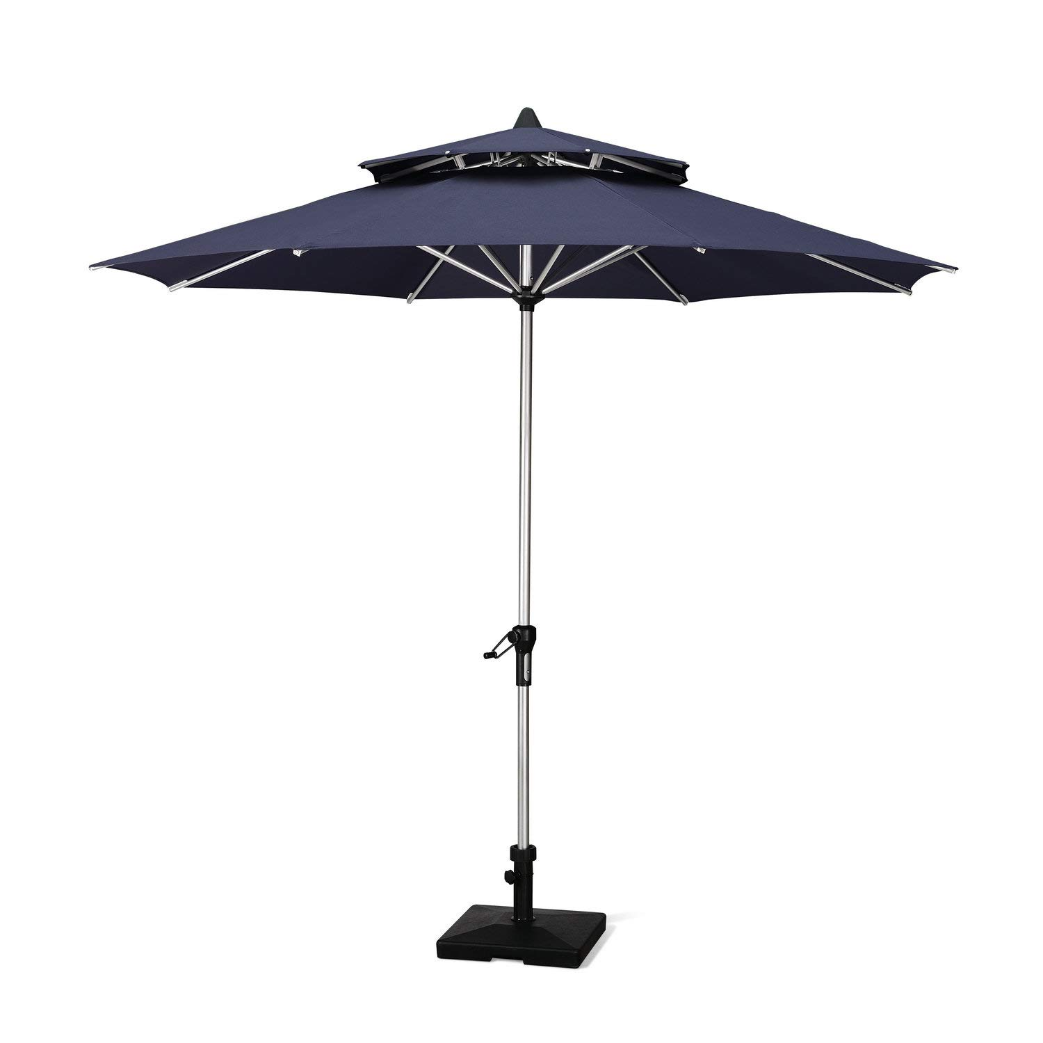 PURPLE LEAF 9 Feet Double Top Deluxe Patio Umbrella Outdoor Market Umbrella Garden Umbrella, Navy Blue