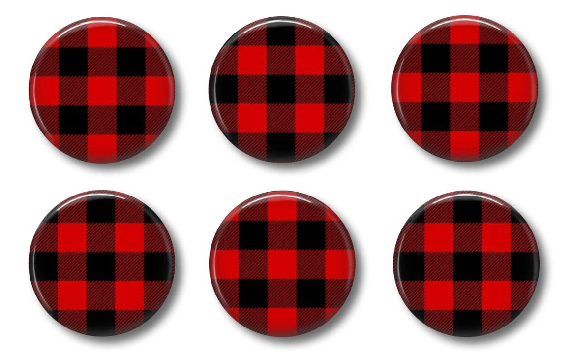 Modern Farmhouse Buffalo Plaid Magnets - Red and Black Check - Set of Six 1.75 inch - Office, Dunn Style Decor Locker Magnets For Teens Home Office or Kitchen Fridge