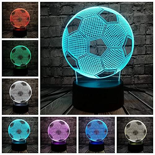 Kabeto New Sporting Football Soccer Shaped LED 3D Lamp Touch Sensor Night Light Multicolor Gift Boy Bedroom Decor Kids Toy