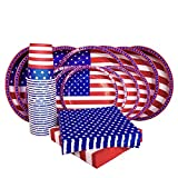 American Flag Patriotic Party Paper Tableware Set- 125 Pieces - Including Napkins, 10'' Big Paper Dinner Plates,7'' Dessert Plates and Paper Cups
