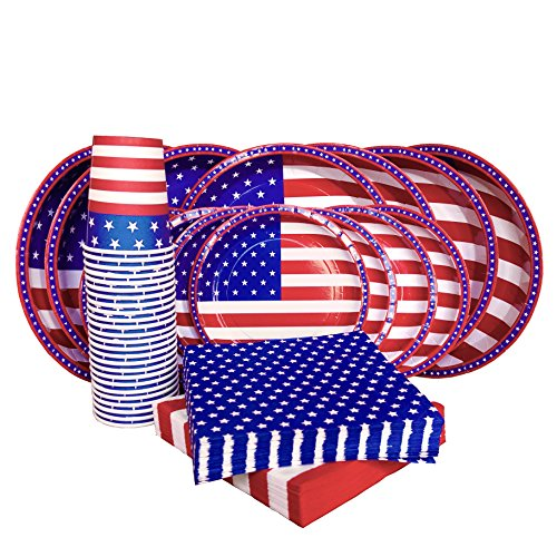 Plate Flag Set (American Flag Patriotic Party Paper Tableware Set- 125 Pieces - Including Napkins, 10