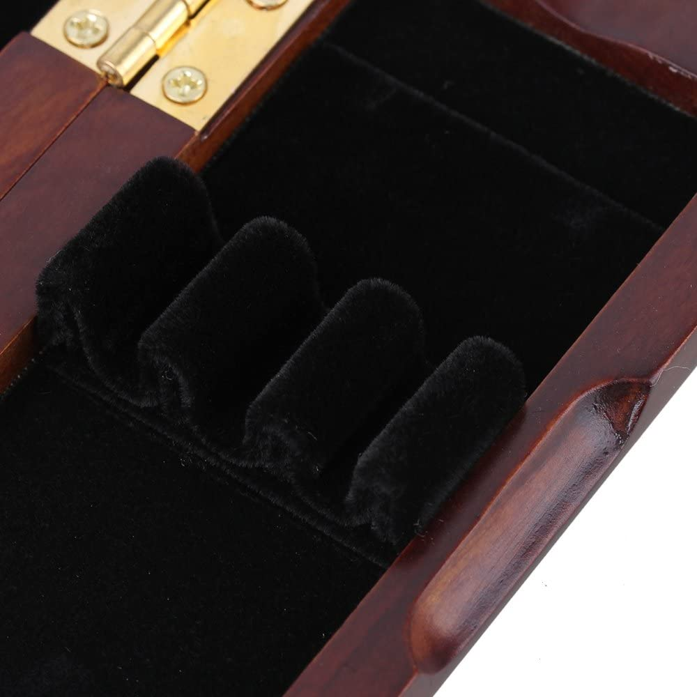 Yibuy Oboe Reed Case Box Spray Lacquer Surface Solid Wood Holds 3 Oboe Reeds Maroon Against Moisture