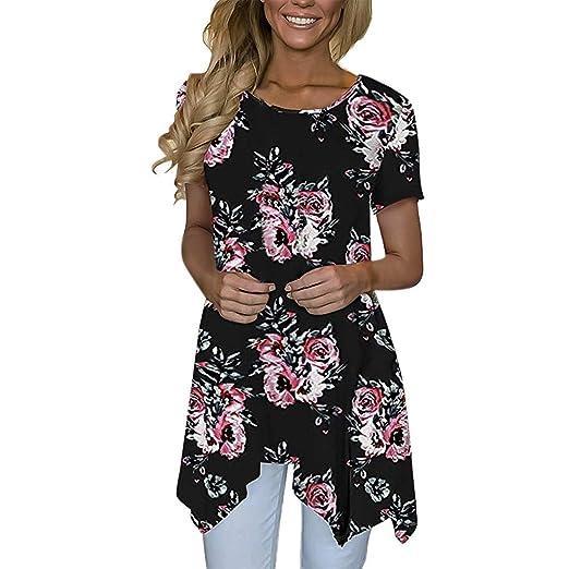80753311310d8d Sinfu Women s Casual Loose Fit Blouse Short Sleeve Flower Print Irregular  Hem T-Shirt Top