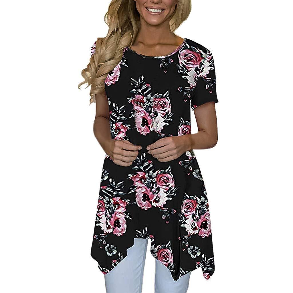 JQjian Solid Short Sleeve T Shirt for Women, Ladies V Neck Blouse Pullover Tops (L, Black-2)