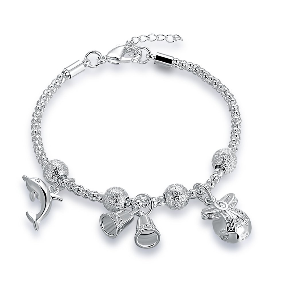 Mrsrui 925 Sterling Silver Plated Leaf Crown Heart Flower Charm Bracelet Birthday Wedding Gift (A)