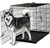 "OxGord 48"" XXXL Dog Crate, Double-Doors Folding Metal w/ Divider & Tray   48"" x 29"" x 32""   2016 Newly Designed Model"