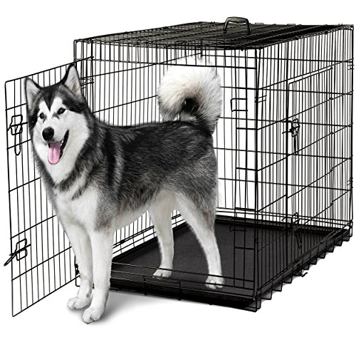 OxGord-48-XXXL-Dog-Crate-Double-Doors-Folding-Metal-w-Divider-Tray-48-x-29-x-32-2016-Newly-Designed-Model