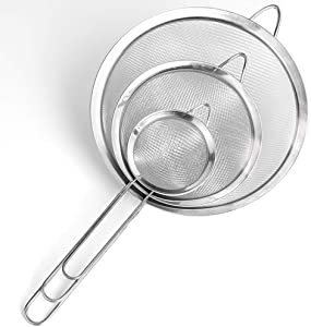 Fine Mesh Strainer,Set of 3 Stainless Steel Colander Wire Sieve Sifters with Long Handle for Tea,Flour,Pasta,Rice,Food,Kitchen,Oil (3