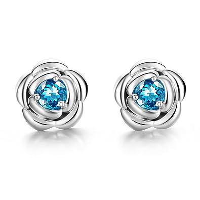 79f15766f Carleen 925 Sterling Silver Round Cut Blue Topaz Rose Flower Shape Stud  Earrings for Women Girls: Amazon.co.uk: Jewellery