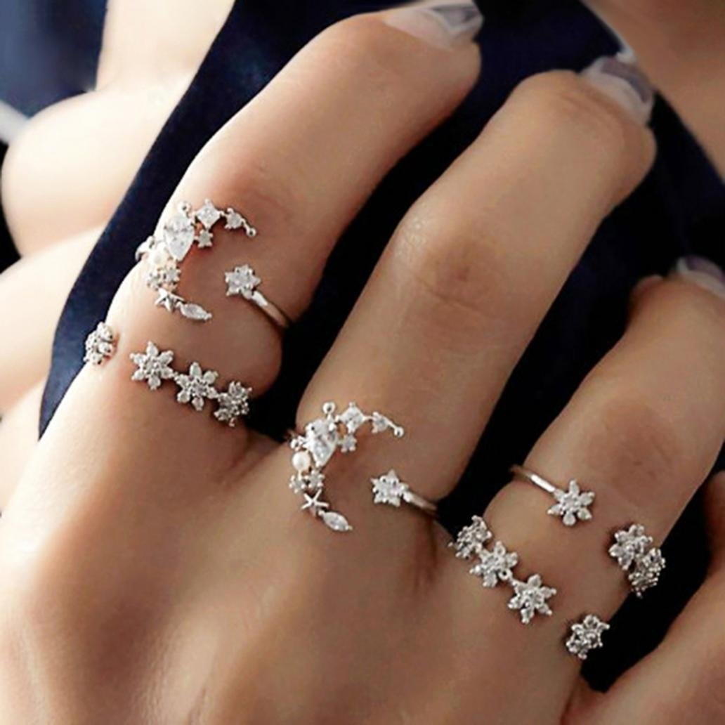 dds5391 5Pcs/Set Fashion Women Star Moon Rhinestone Knuckle Finger Ring Jewelry Gifts