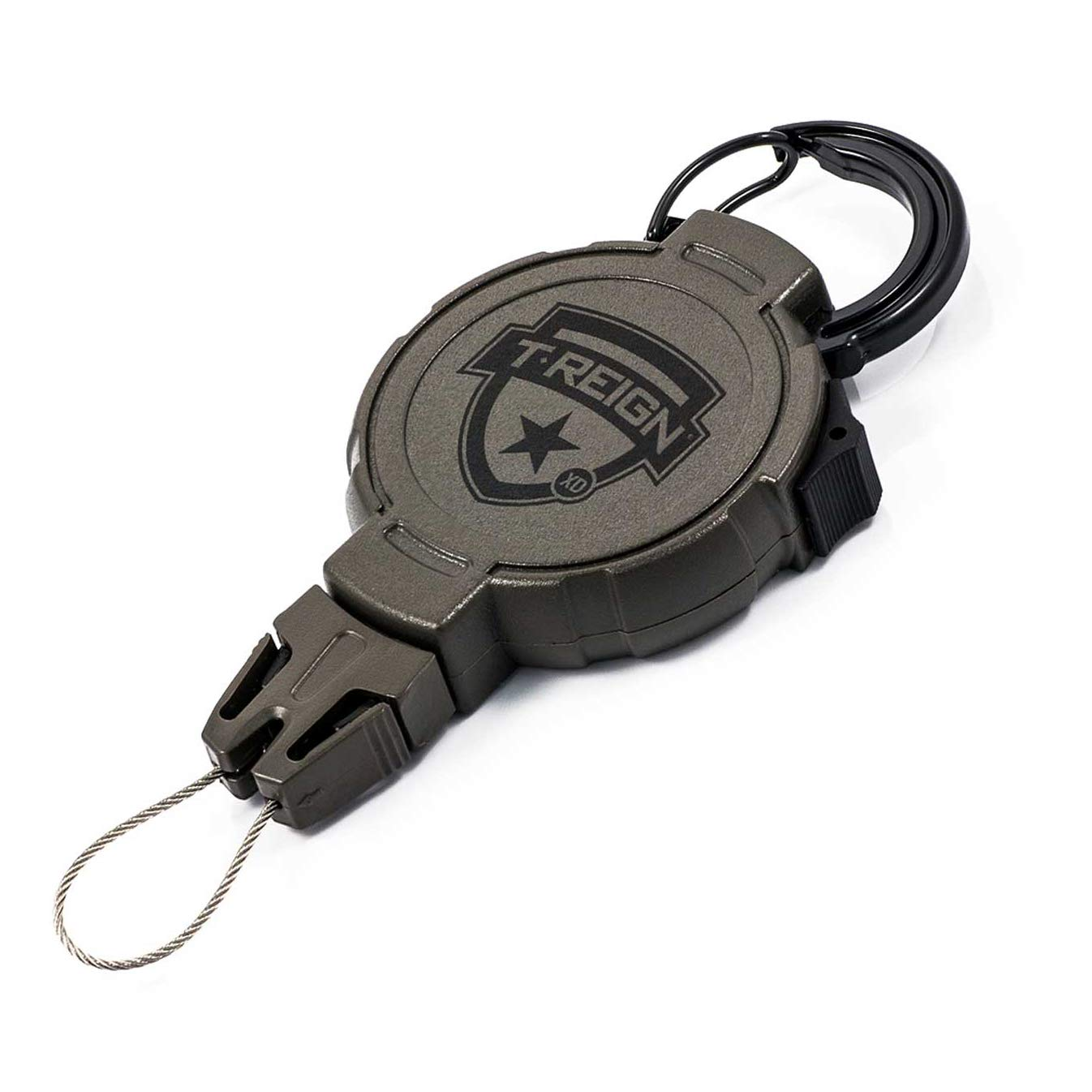 T-REIGN Hunting XD Retractable Gear Tether, Carabiner, 36'' Kevlar Cord, 14 oz. Retraction, Green Polycarbonate Case, Universal Attachment