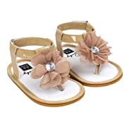 Voberry Baby Infant Girls Flower Pearl Princess Sandals Soft Sole First Walker Crib Shoes (6~12 Month, Khaki)