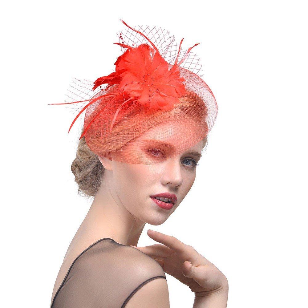 Egmy Fascinator Pearl Mesh Feather Headdress Hair Clip Bowler Feather Flower Veil Tea Party Wedding Hat for Woman Dark Blue