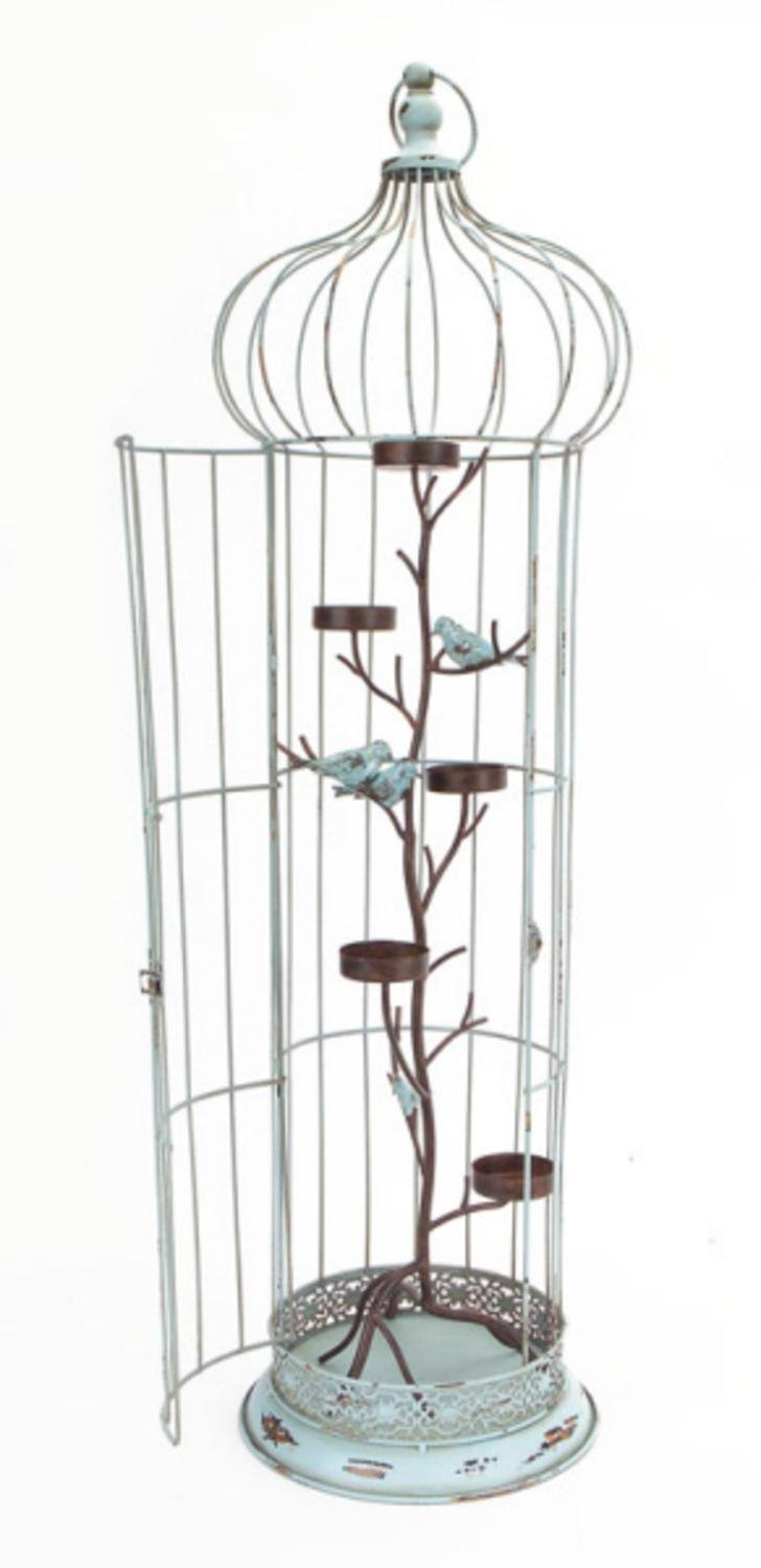 Melrose 36'' New Romance Distressed Blue Tea Light Candle Holder Bird Cage with Bird Accents
