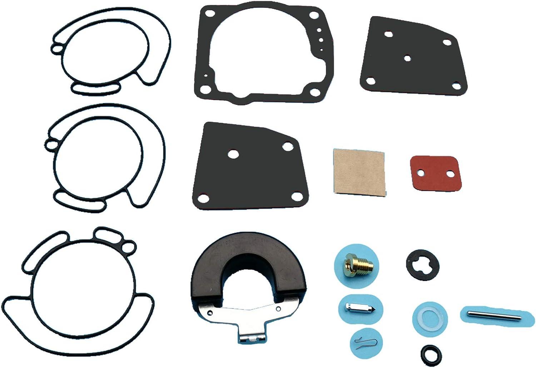Tuzliufi Replace Carb Carburetor Rebuild Repair Kit Johnson & Evinrude OMC BRP V4 V6 90 100 105 115 125 150 175 HP 438996 435442 436852 Mallory 9-37102 1991-2006 New Z271