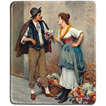dealzEpic - Art Mousepad - Natural Rubber Mouse Pad with Famous Fine Art Painting of The Flower Seller by Eugene de Blaas Romantic Painting - Stitched Edges - 9.5x7.9 inches