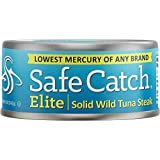 Safe Catch Elite Lowest Mercury Solid Wild Tuna Steak, 5 Ounce Can The Only Brand To Test Every Tuna for Mercury (Pack…