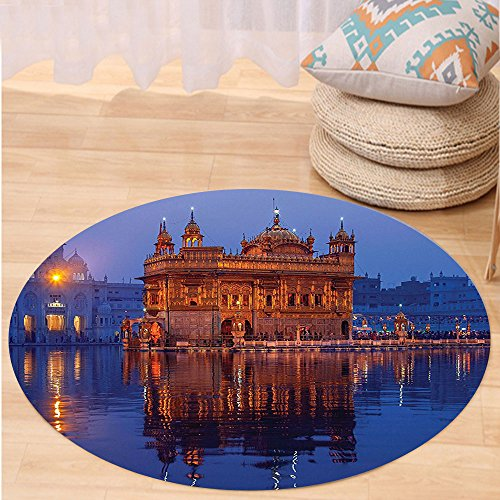 VROSELV Custom carpetHome Decor Golden Temple At Night City Lights Holy Shrine Worship For Men And Women Equally Picture Bedroom Living Room Dorm Decor Blue Orange Round 72 inches by VROSELV