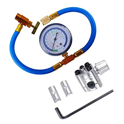 BPV31 Piercing Valve for Bullet with R134a Charging Hose, Refrigerant Can Tap with Gauge R134a can to R-12/R-22 port: Home Improvement