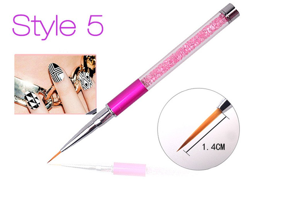 Nail Art Brush Pen Rhinestone Crystal Metal Acrylic Carving Gel Polish Decoration Painting Salon Liner Fin Tool Manicure Style5