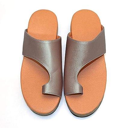 RPU Suela Plana de Cuero de PU Zapatillas de corrección del Dedo Gordo del pie para