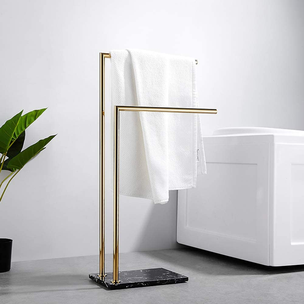 Freestanding Towel Rack Metal Brass Modern Towel Drying Rack Hand Towel Bar Stand for Bathroom And Kitchen Double L Shape Towel Holder with Marble Base H 80 cm