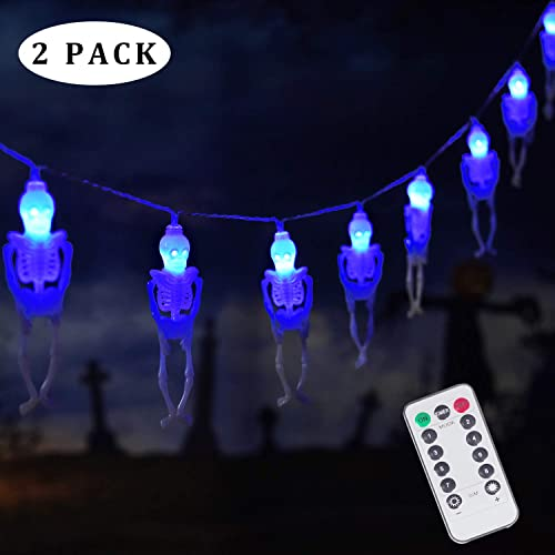 15 LED Halloween Skull String Lights, 8 Modes Fairy Lights with Remote, Battery Operated Halloween Lights, for Outdoor Indoor Party Patio Halloween Decoration 2Pack, Blue