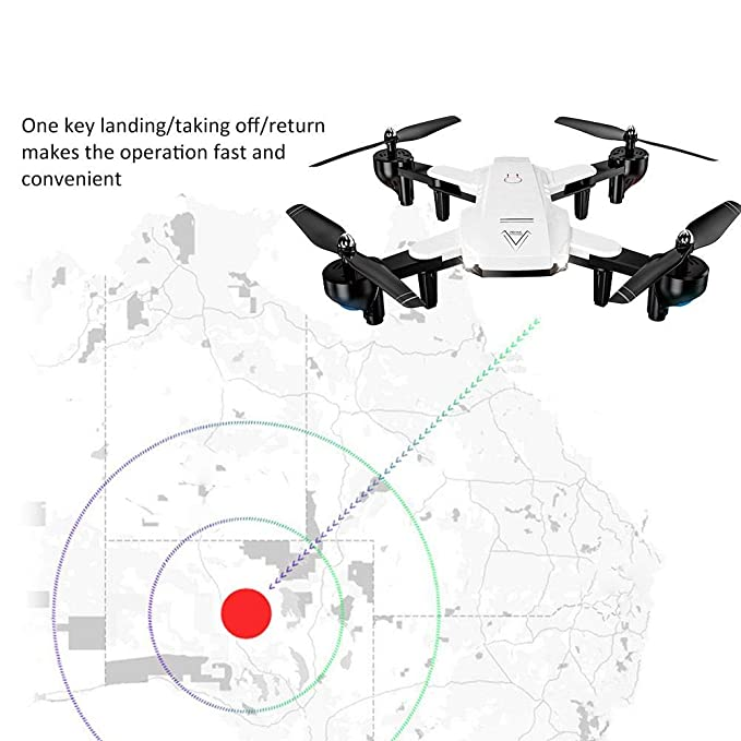 Optical Flow 720P-NEGRO One Key Return RC Quadcopter Drone con Modo sin Cabeza Giratorio Plegable de 6 Ejes para Juguetes VGEBY1 Drone RC