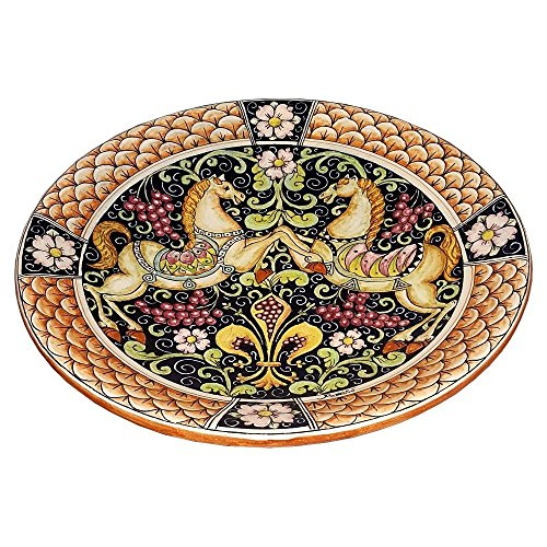 CERAMICHE D'ARTE PARRINI - Italian Ceramic Art Pottery Hand Painted Plate Flat Dish Decorated Horses Lily Florence Made in ITALY Tuscan