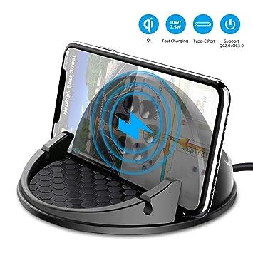 Beeasy Cargador Inalámbrico Coche Carga Rápida,Qi Cargador Rápido Wireless Car Charger Soporte Móvil,10W para Samsung S10/S10e/S10+/S9/S8/S8+/Note ...