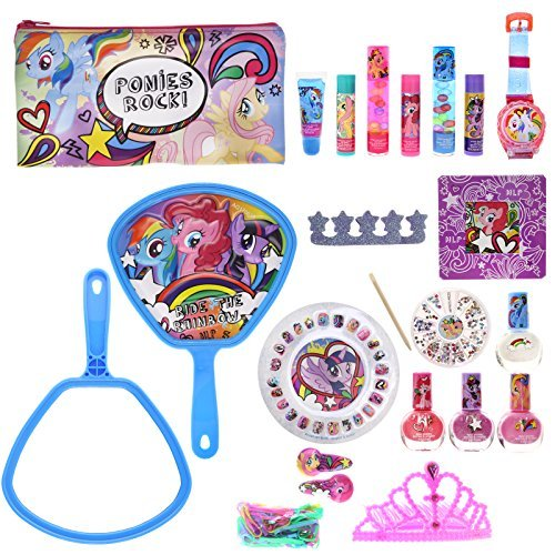 Townley Girl My Little Pony Mega Cosmetic Set with Lip Gloss, Nail Polish, Nail Gems, Hair Clips, Mirror and more