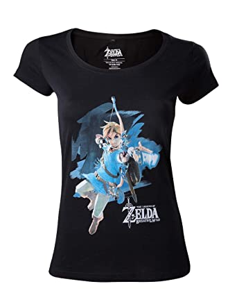 68aee4c0ea3 The Legend of Zelda Breath Of The Wild - Link With Arrow T-shirt Femme noir  S  Amazon.fr  Jeux vidéo