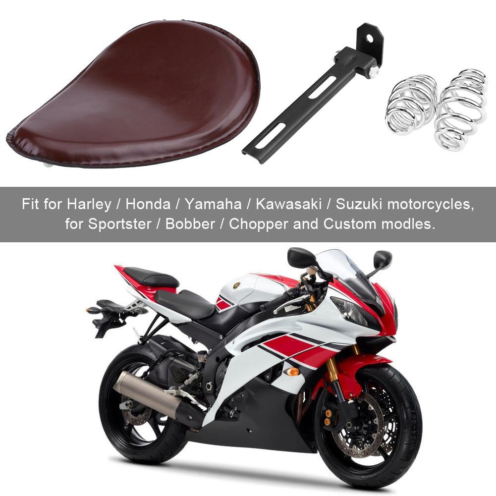 Asiento Individual de Cuero para Motocicleta con Soporte de Resorte de Montaje para Harley Chopper Bobber Custom 3 inch de Delaman Color : Brown