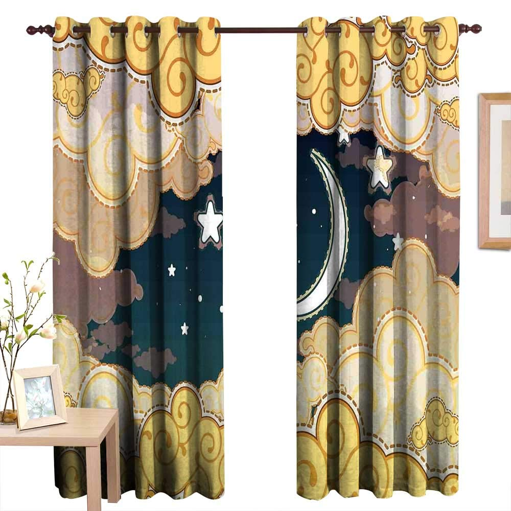 "TheresaDewey Customized Curtains Fantasy Decor,Cartoon Style Night Sky with Clouds and Half Moon Cloudscape Illustration,Yellow Beige White,Blackout Draperies for Bedroom Living Room 54""x63"""